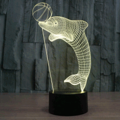 Laser Cut Dolphin 3d Nightlight Led Deco Lamp Free PDF File