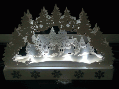 Laser Cut Scene Decorations Night Lamp Holiday Decorations Free PDF File