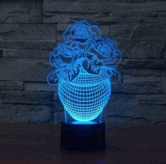 Rose In A Vase 3d Illusion Lamp Led Night Lights Free PDF File