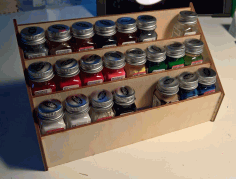 Laser Cut Testors Square Enamels Paint Rack 3mm Free PDF File