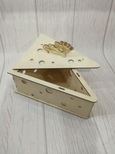Laser Cut Cheese Shape Box Free CDR Vectors Art