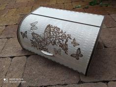 Laser Cut Roll Top Bread Box Wooden Bread Box With Sliding Door Free CDR Vectors Art