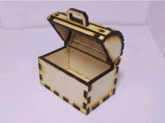 Laser Cut Toy Treasure Chest Box Free CDR Vectors Art