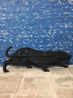 Laser Cut Puma Panther Cheetah Shelf Animal Bookshelf Panel Free CDR Vectors Art