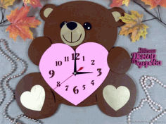 Laser Cut Bear Clock Free CDR Vectors Art