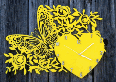 Laser Cut Decor Wall Clock With Butterfly Heart And Flowers Free CDR Vectors Art