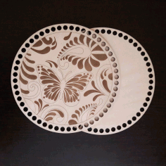 Laser Cut Engraved Basket Lid And Bottom Wooden Crochet Blank Kit Free CDR Vectors Art