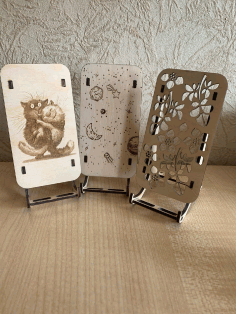 Laser Cut Engraved Decorative Mobile Stands Free CDR Vectors Art