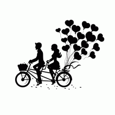 Laser Engraving Romantic Couple On Tandem Bike Free CDR Vectors Art