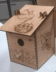 Laser Cut Bird Nesting Box Plywood Free AI File