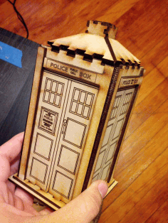 Laser Cut Wooden Police Box Tardis Toy Free AI File
