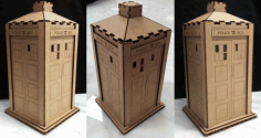 Wooden Police Box Tardis Toy Free AI File