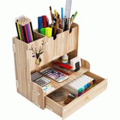 Laser Cut Desktop Organizer Multifunctional Pen Holder Desktop Stationary Storage Rack For Home Office Free CDR Vectors Art