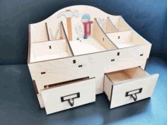 Laser Cut Multipurpose Tool Storage Organizer With Drawer Free CDR Vectors Art
