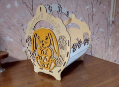 Laser Cut Decorative Basket With Bunny Free CDR Vectors Art