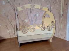 Laser Cut Decorative Bunny Basket Free CDR Vectors Art