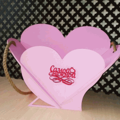 Laser Cut Heart Basket Free CDR Vectors Art