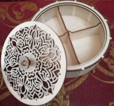 Laser Cut Plywood Round Box Basket With Compartments Free CDR Vectors Art