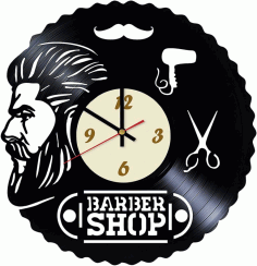 Laser Cut Barbershop Design Vinyl Wall Clock Free CDR Vectors Art