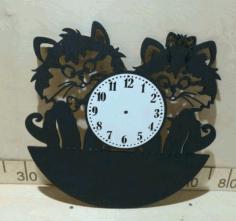 Laser Cut Cute Cats Wall Clock Free CDR Vectors Art