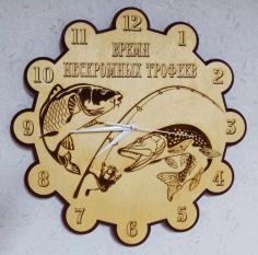 Laser Cut Fisherman Wall Clock Free CDR Vectors Art