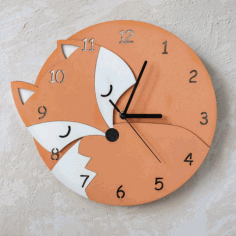 Laser Cut Fox Wall Clock With Numbers Kids Room Wall Decoration Children Clock Free CDR Vectors Art