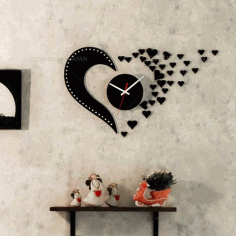 Laser Cut Love Design Flying Hearts Wall Clock Free CDR Vectors Art