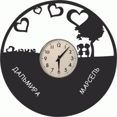Laser Cut Love Vinyl Clock Wall Art Free CDR Vectors Art