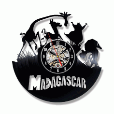 Laser Cut Madagascar Theme Vinyl Record Wall Clock Free CDR Vectors Art