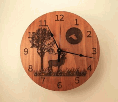 Laser Cut Wall Clock Chasy Olen Derevo Luna Free CDR Vectors Art