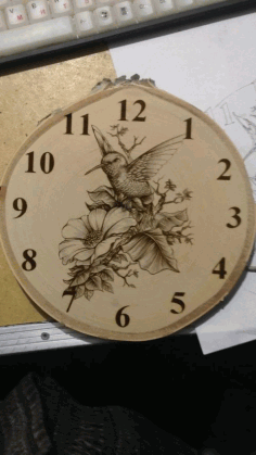 Laser Engraving Bird And Flowers Clock Template Free CDR Vectors Art
