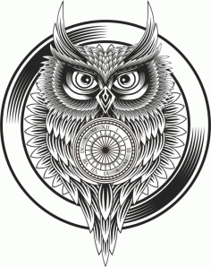 Owl Clock Ornament Free CDR Vectors Art