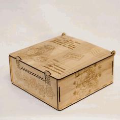 Laser Cut New Year Gift Box Design Free CDR Vectors Art