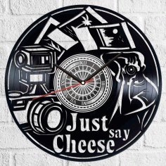 Laser Cut Just Say Cheese Vinyl Photography Clock Free AI File