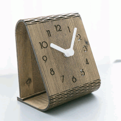 Laser Cut Modern Minimalist Desktop Clock Template Free AI File