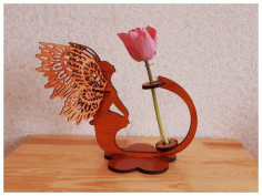 Laser Cut Angel Flower Stand Planter Free CDR Vectors Art