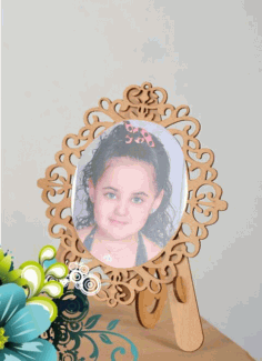 Laser Cut Decorative Photo Frame With Stand Free CDR Vectors Art