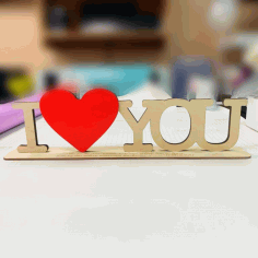 Laser Cut I Love You Letters With Red Heart Shape On Stand Free CDR Vectors Art