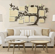 Laser Cut Family Tree With Photo Frames Free CDR Vectors Art
