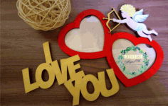 Laser Cut I Love You Photo Frames Free CDR Vectors Art