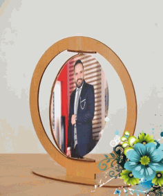 Laser Cut Rotating Photo Frame Free CDR Vectors Art