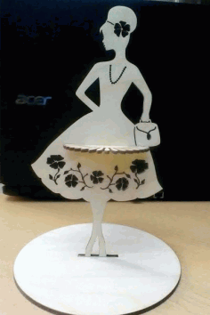 Laser Cut Fashion Lady Napkin Holder Free CDR Vectors Art