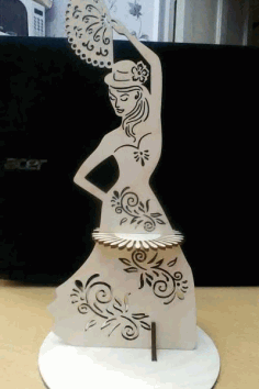 Laser Cut Napkin Holder Dancer With A Fan Template Free CDR Vectors Art
