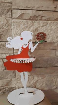 Laser Cut Wooden Decorative Girl Tissue Paper Holder Napkin Holder For Dining Table Tissue Holder Free CDR Vectors Art