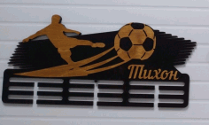 Laser Cut Football Medal Display Soccer Medal Holder Free CDR Vectors Art