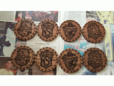Laser Cut Harry Potter Cup Holders Coasters Free CDR Vectors Art