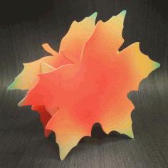 Laser Cut Maple Leaf Shape Box Planter Pen Holder Free CDR Vectors Art