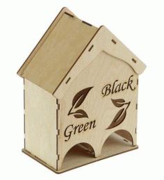 Laser Cut 2 In 1 Tea House Tea Bag Dispenser Free CDR Vectors Art