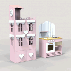 Laser Cut Doll House And Miniature Kitchen Free CDR Vectors Art