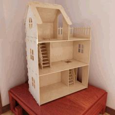 Laser Cut Dollhouse Miniature Toy House Free CDR Vectors Art